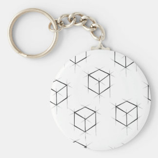 Abstract modern blueprint style cubic boxes keychain