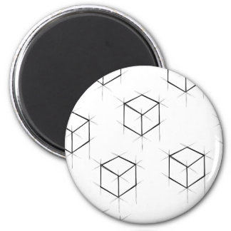 Abstract modern blueprint style cubic boxes magnet