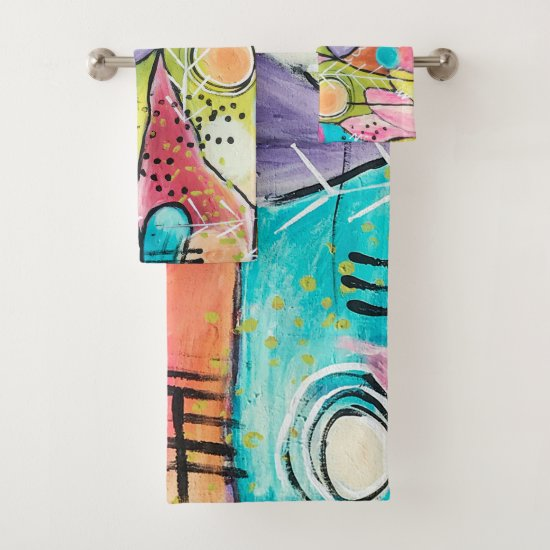Abstract Modern Colorblock Trendy Whimsical Art Bath Towel Set