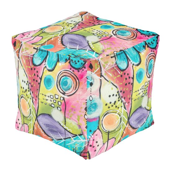 Abstract Modern Colorblock Trendy Whimsical Art Pouf
