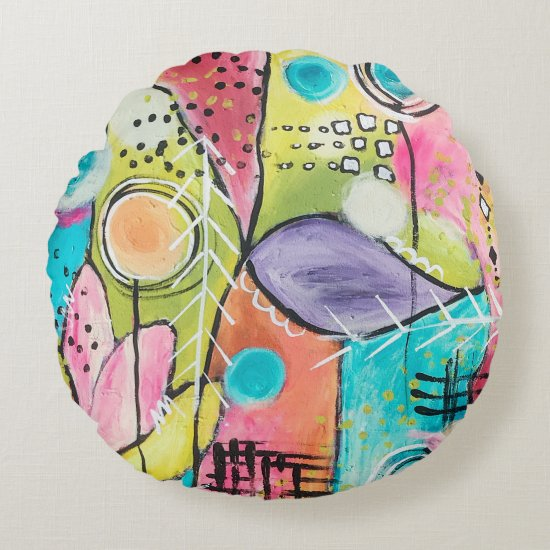 Abstract Modern Colorblock Trendy Whimsical Art Round Pillow