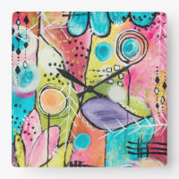 Abstract Modern Colorblock Trendy Whimsical Art Square Wall Clock