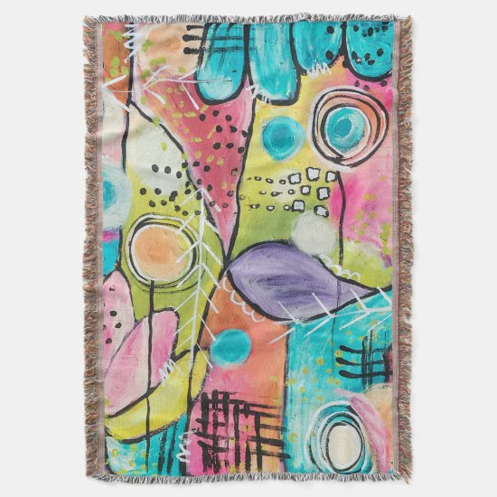 Abstract Modern Colorblock Trendy Whimsical Art Throw