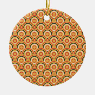 Abstract Modern Concentric Circles Texture Double-Sided Ceramic Round Christmas Ornament