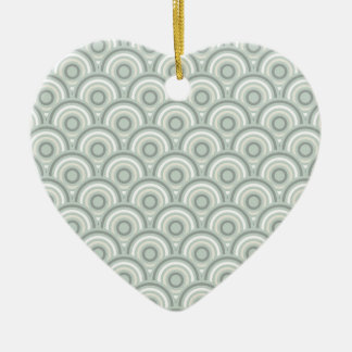 Abstract Modern Concentric Circles Texture Double-Sided Heart Ceramic Christmas Ornament