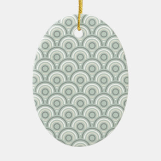 Abstract Modern Concentric Circles Texture Double-Sided Oval Ceramic Christmas Ornament