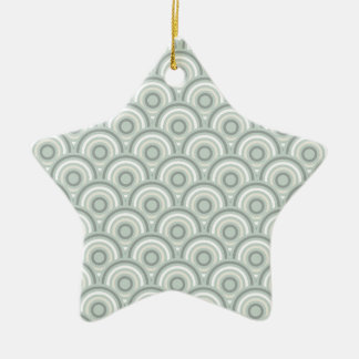 Abstract Modern Concentric Circles Texture Double-Sided Star Ceramic Christmas Ornament