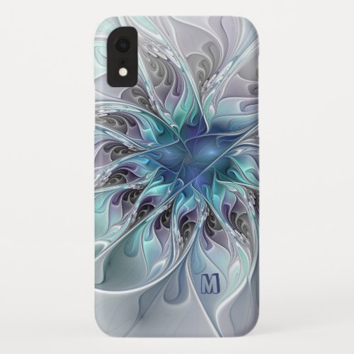 Abstract Modern Fractal Flower With Blue Monogram Phone Case
