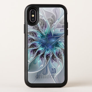 Abstract Modern Fractal Flower With Blue Monogram OtterBox Symmetry iPhone X Case