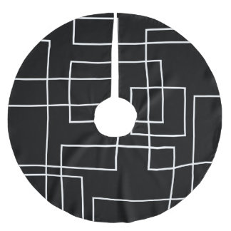 Abstract Modern Geometric White Box Design Brushed Polyester Tree Skirt