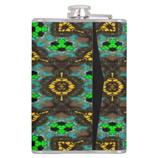Abstract modern mutlicolored pattern hip flask