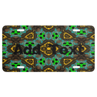 Abstract modern mutlicolored pattern license plate