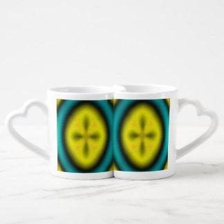 Abstract modern pattern couples' coffee mug set