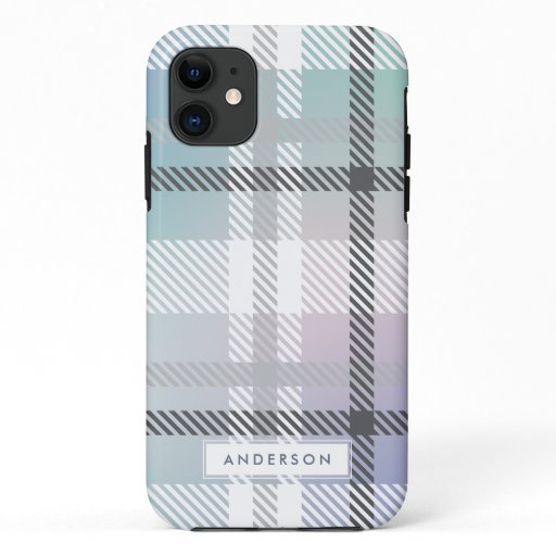 Abstract modern rainbow gradient plaid iPhone 11 case