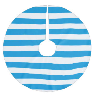Abstract Modern Simple Blue Stripe Design Brushed Polyester Tree Skirt