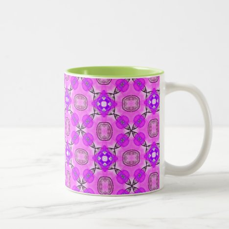 Abstract Modern Violet Pink Flowers Two-Tone Coffee Mug