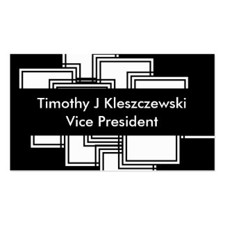 Abstract Modern White Squares with Black Rules Business Card
