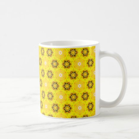 Abstract Modern Yellow Flowers Circles Stars Quilt Coffee Mug
