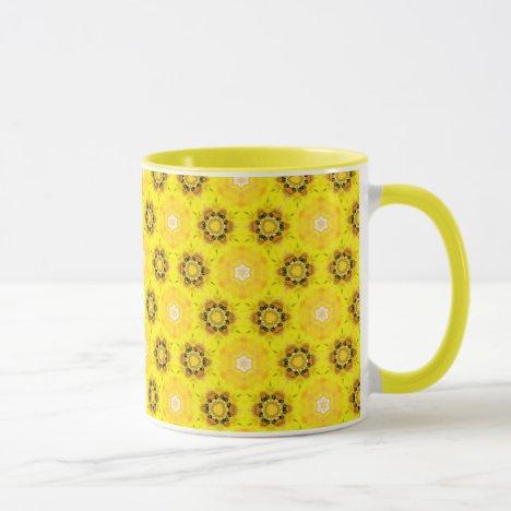Abstract Modern Yellow Flowers Circles Stars Quilt Mug