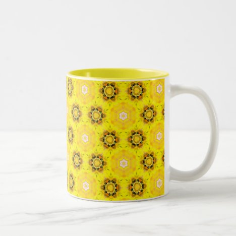 Abstract Modern Yellow Flowers Circles Stars Quilt Two-Tone Coffee Mug