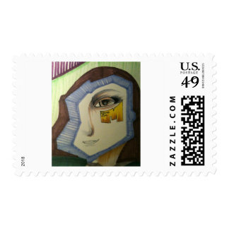 abstract mona lisa stamp by artist metro one