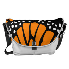 Abstract Monarch Butterfly Wing Design Messenger Bag at Zazzle