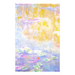 abstract, monet water lilies 7 custom stationery