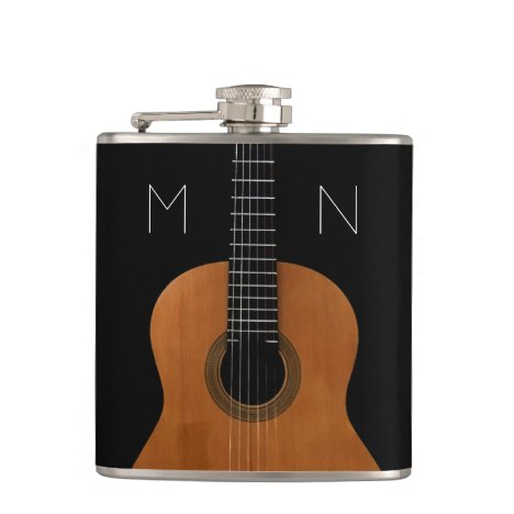 Abstract Monogram Acoustic Guitar Flask