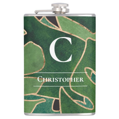 Abstract Monogram w Company Logo Green Gold Flask