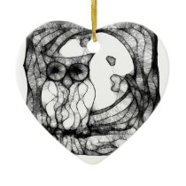 Abstract moody owl ceramic ornament