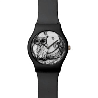 Abstract moody owl wrist watch