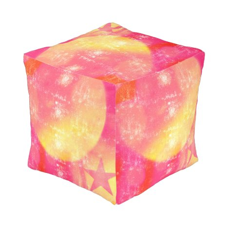 Abstract Moon and Star Pink and Yellow Pouf