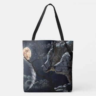 Abstract Moon Tree night sky wolf  tote bag