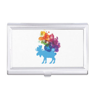 Moose business card holders cases zazzle abstract moose business card holder colourmoves