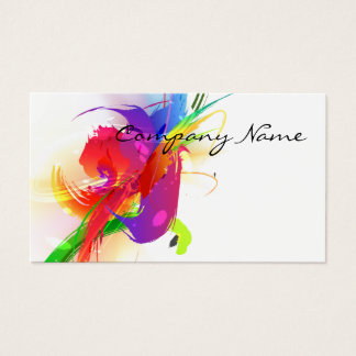 Abstract Morning Glory & Lorikeet Paint Splatters Business Card
