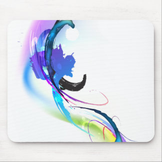 Abstract Morning Glory Paint Splatters Mouse Pad