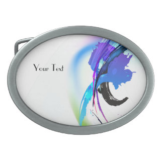 Abstract Morning Glory Paint Splatters Oval Belt Buckle