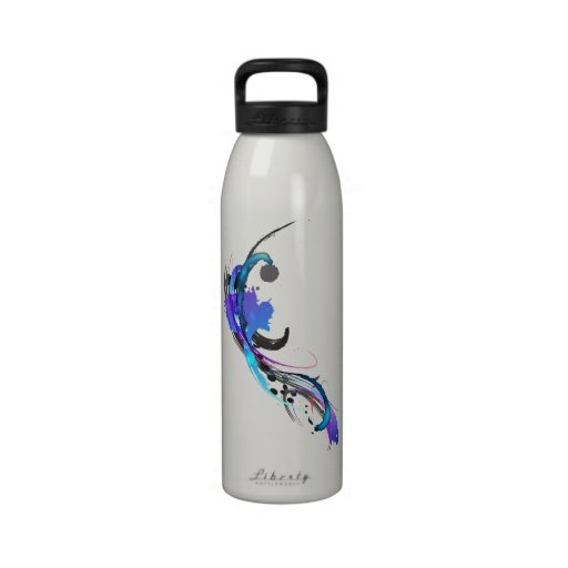Abstract Morning Glory Paint Splatters Water Bottles
