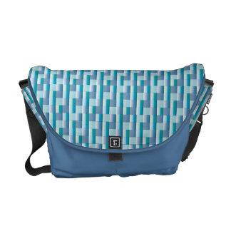 Abstract Mosaic Check Pattern Blue Teal Zigzag Messenger Bag