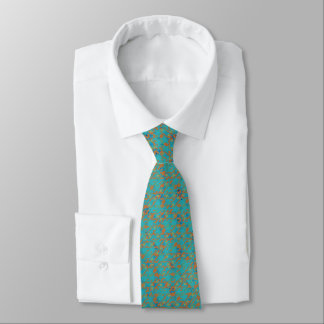 Abstract Mosaic Criss Cross Turquoise Orange Tie