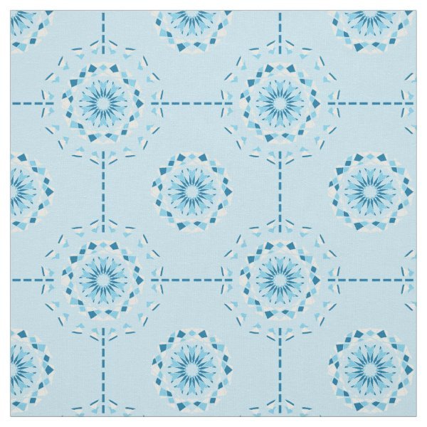 Abstract mosaic pattern in fresh blue tones fabric