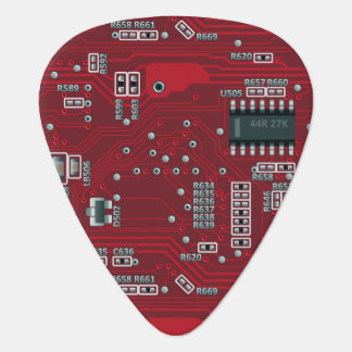 Abstract motherboard guitar pick