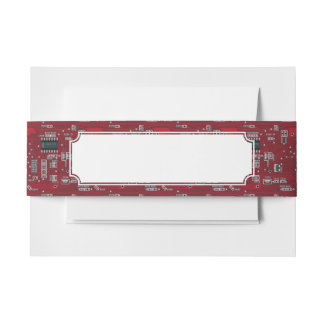 Abstract motherboard invitation belly band