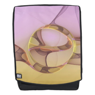 Abstract Motions, Modern Light Pink Yellow Fractal Backpack