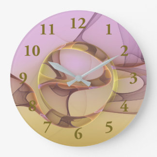 Abstract Motions, Modern Light Pink Yellow Fractal Large Clock