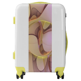 Abstract Motions, Modern Light Pink Yellow Fractal Luggage