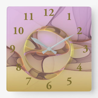 Abstract Motions, Modern Light Pink Yellow Fractal Square Wall Clock