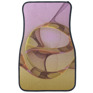 Abstract Motions Modern Pink Golden Fractal Art Car Floor Mat