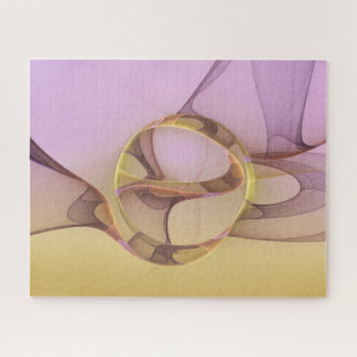 Abstract Motions Modern Pink Golden Fractal Art Jigsaw Puzzle