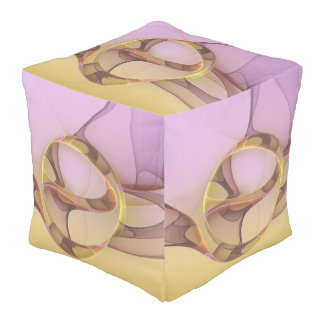 Abstract Motions Modern Pink Golden Fractal Art Pouf